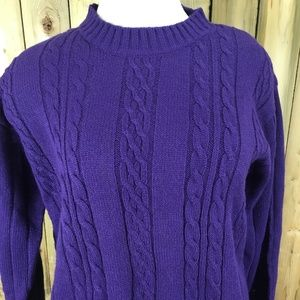 Carolyn Taylor Sweaters - Vintage Carolyn Taylor Purple Cable Knit Sweater